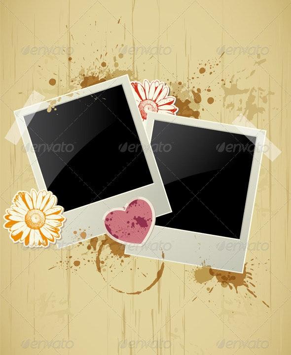Photo Frame on a Grunge Background - Valentines Seasons/Holidays