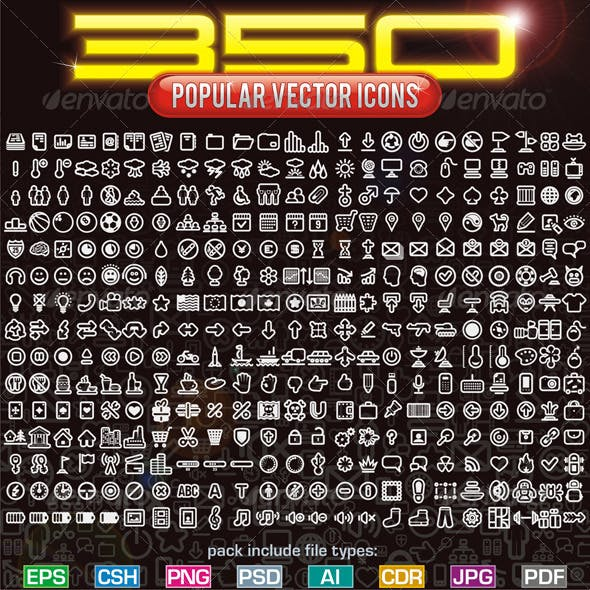 350 Contour Icons (include CSH, PSD, EPS...)