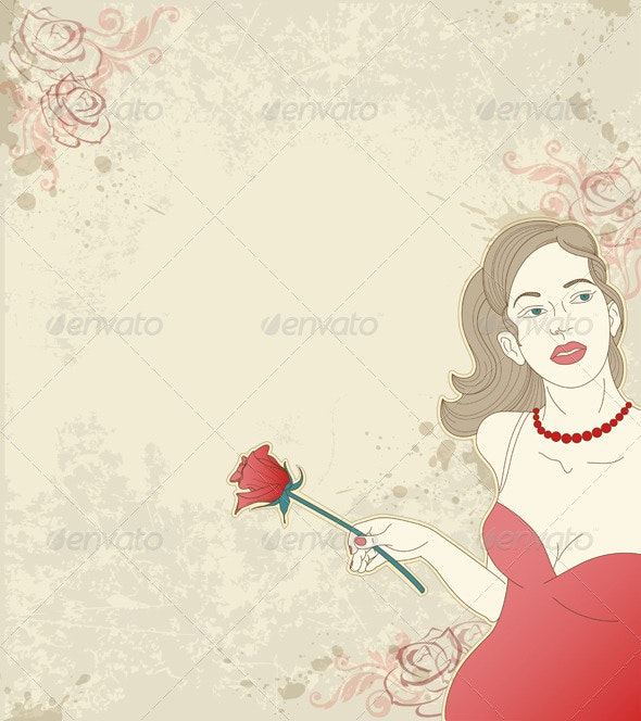 Girl with Red Rose - People Characters