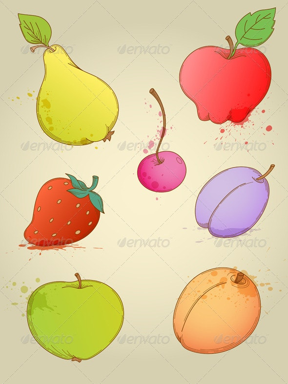 Set of Fruits - Food Objects