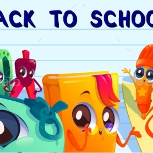 Back to School Cartoon Banner with Student Stuff