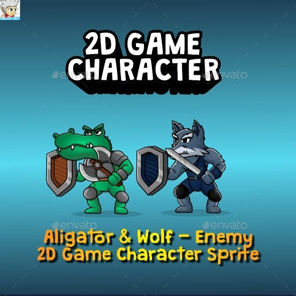 Aligator & Wolf Enemy - 2D Game Character Sprites