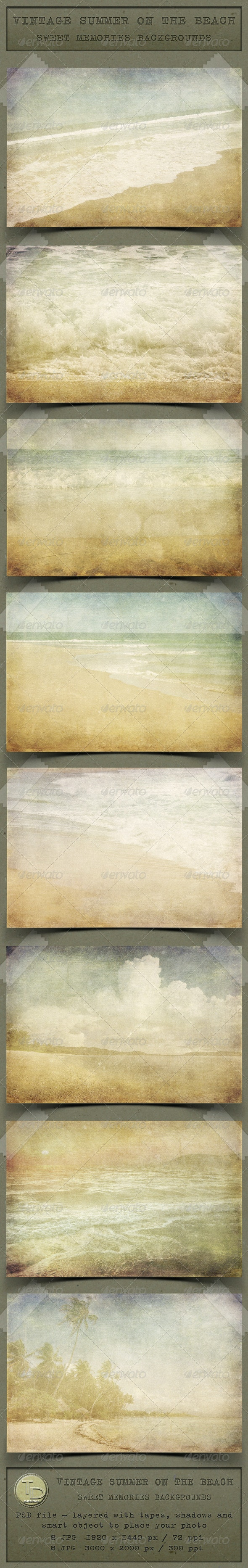 Vintage Summer on the Beach Backgrounds - Nature Backgrounds