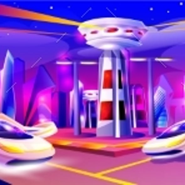 Future Night City with Flying Cars and Futuristic