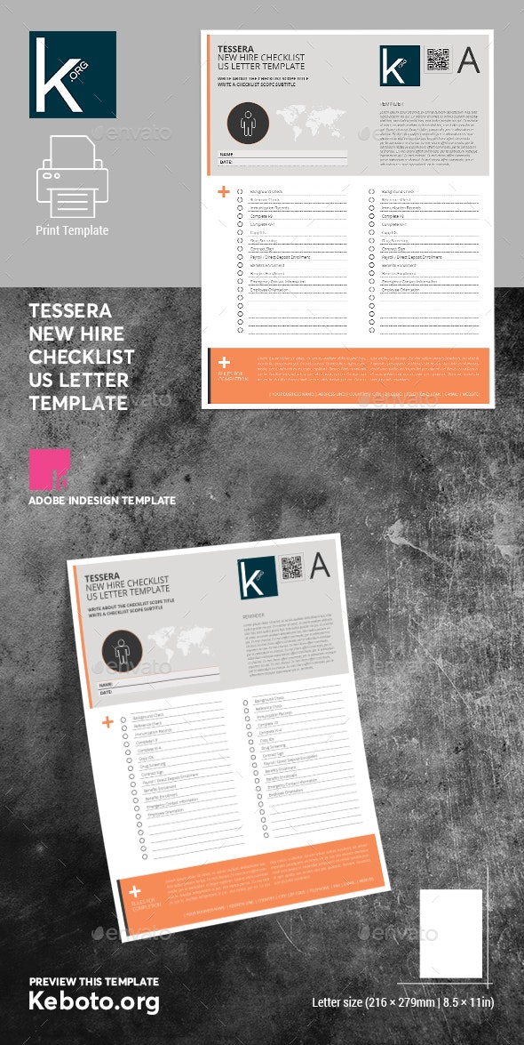 Tessera New Hire Checklist US Letter Template - Miscellaneous Print Templates