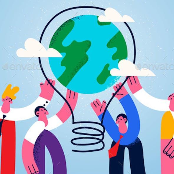 Teamwork and Business Innovative Ideas Concept