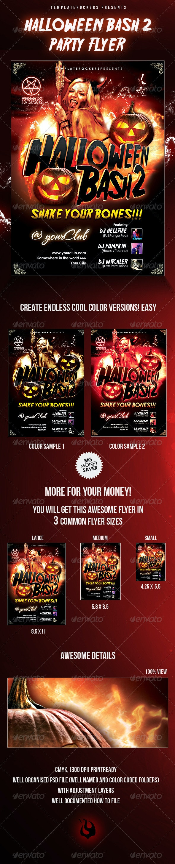 Halloween Bash 2 Party Flyer - 3 Sizes - Clubs & Parties Events