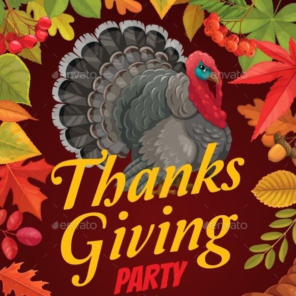 Thanksgiving Flyer Turkey Cornucopia Fall Leaf