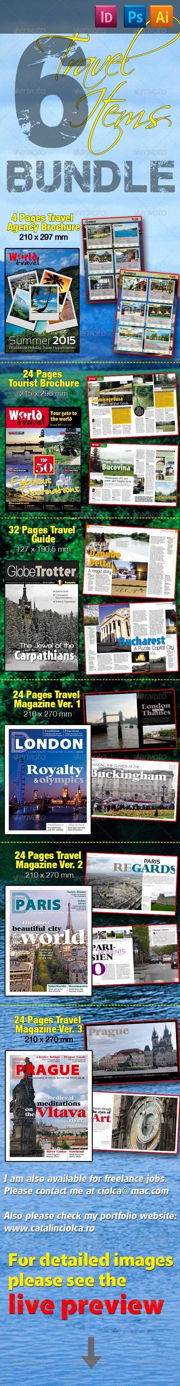 6 Travel Items Bundle - Magazines Print Templates