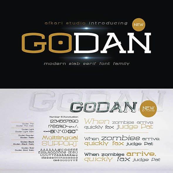 Godan - Modern Slab Serif Font Family