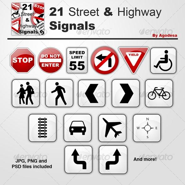 21 Street & Highway Signals - Urban Backgrounds