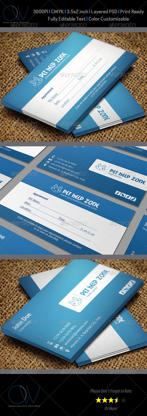 Pet Appointment Business Card - Industry Specific Business Cards