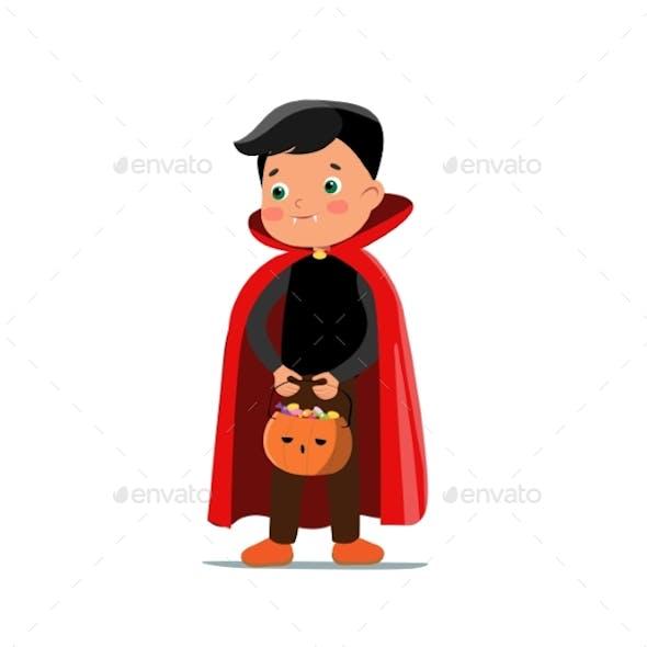 Vector Cartoon Halloween Vampire Boy with Pumpkin
