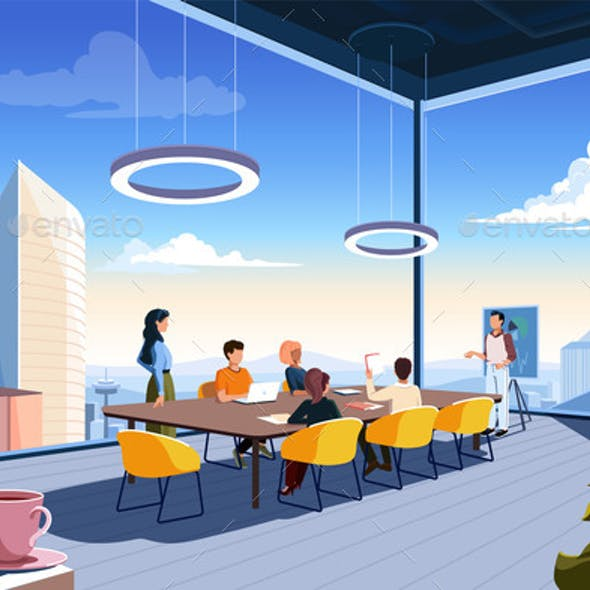 Skyscraper Office with Sky View