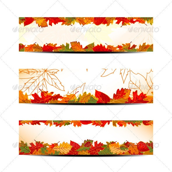 Set of Colorful Autumn Leaves Banner or Web Header - Web Elements Vectors