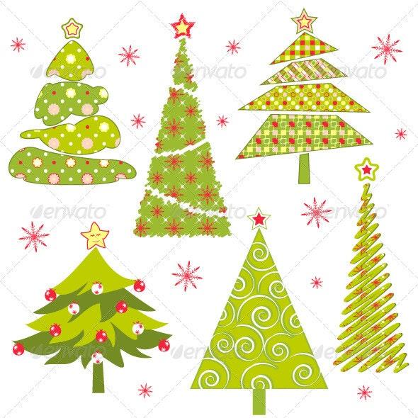 Set of Christmas Tree - Christmas Seasons/Holidays