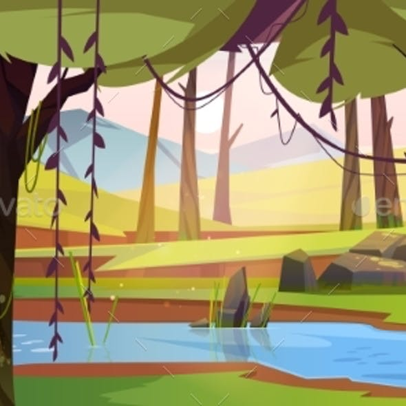 Cartoon Forest Background with Stream Flow Wood