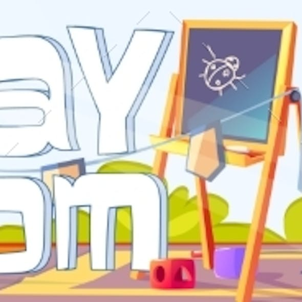 Playroom Banner with Furniture and Toys for Kids