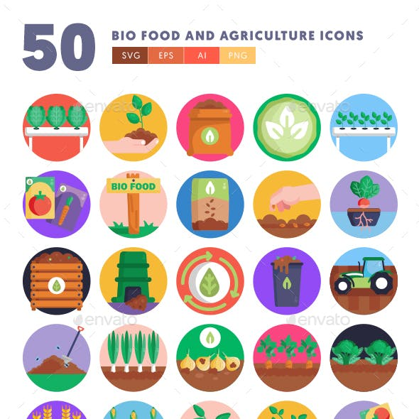 50 Bio Food and Agriculture Icons
