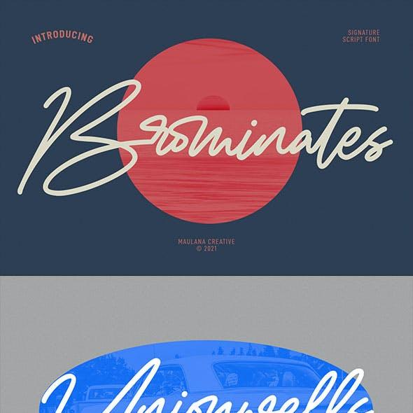 Brominates Signature Font