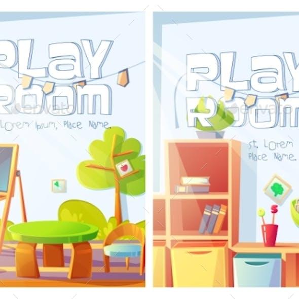 Playroom Flyers with Kindergarten Interior
