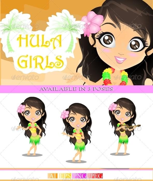 Hula Girls - Characters Vectors