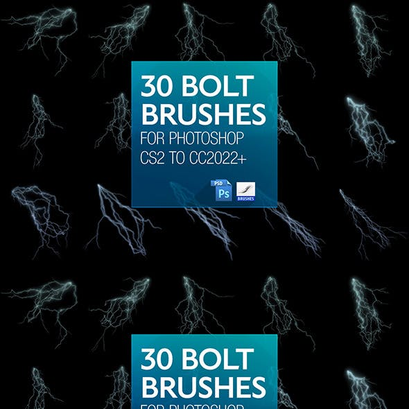 30 Bolt Brushes for PS CS2 to CC202+