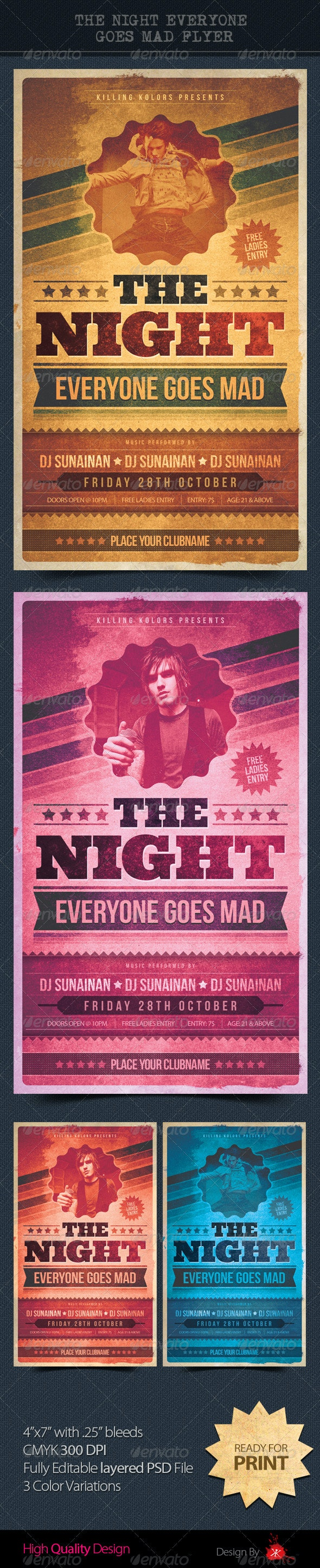 The Night Everyone Goes Mad - Flyers Print Templates