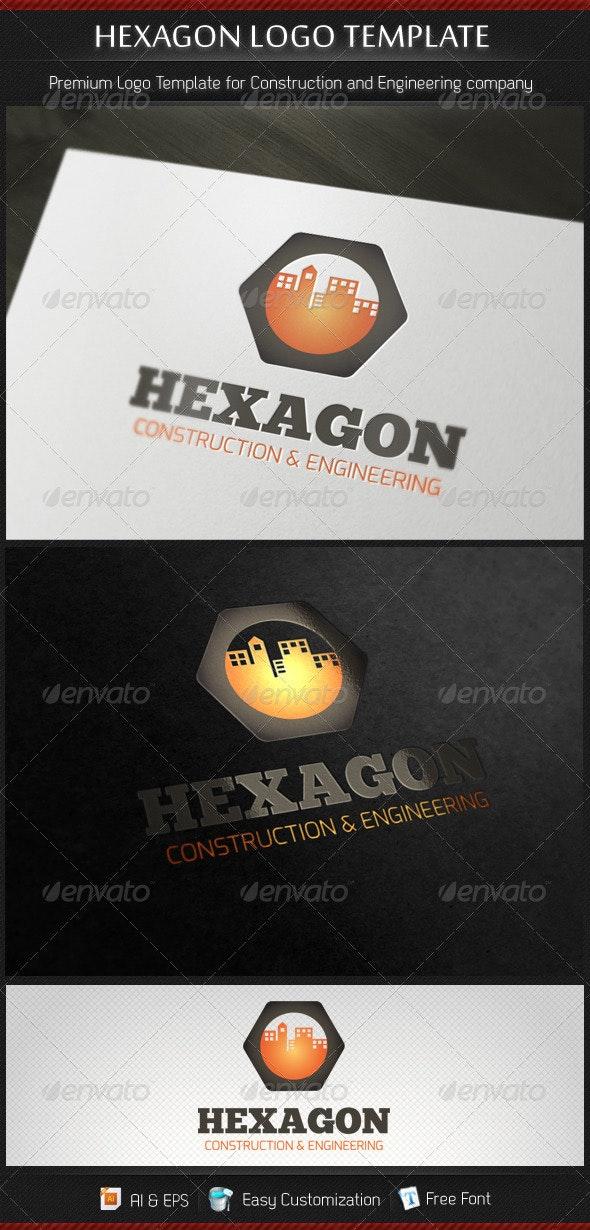 Hexagon Construction and Engineering Logo Template - Buildings Logo Templates