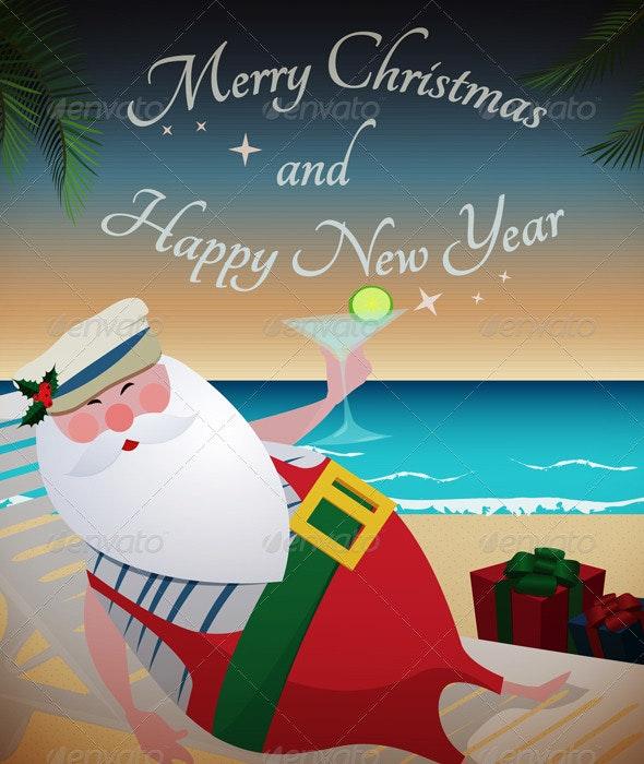 Santa Relaxing on Tropic Beach - Christmas Seasons/Holidays