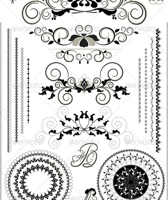 Border of the Flourishes and Calligraphy Letters - Borders Decorative