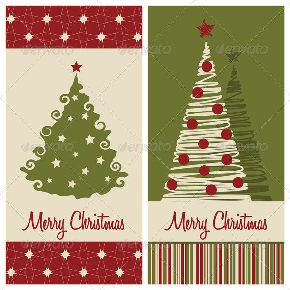 2 Vector Christmas Card Backgrounds - Christmas Seasons/Holidays