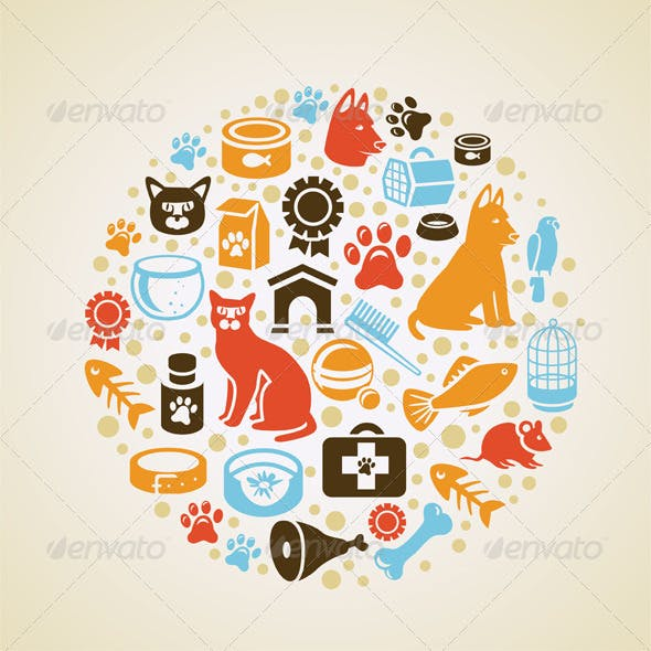 Vector concept with cat and dog icons