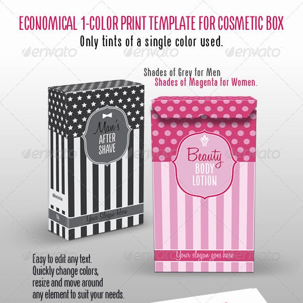 Beauty/Cosmetic Box; Single Color Tints Print