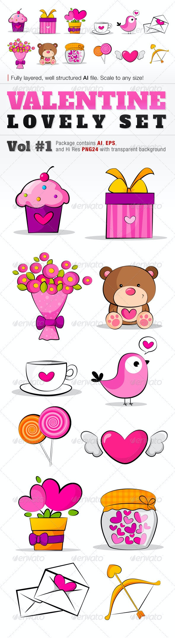 Valentine Lovely Set 01 - Valentines Seasons/Holidays