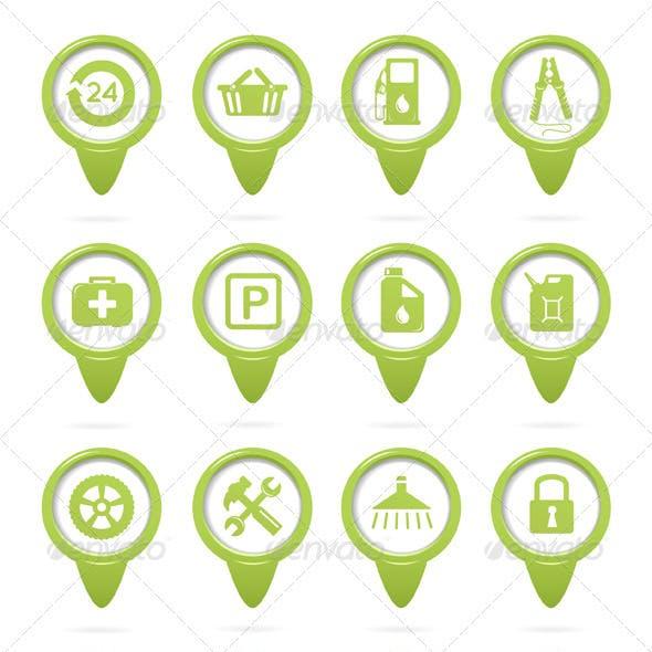 Gasoline Station Green Pointers Set