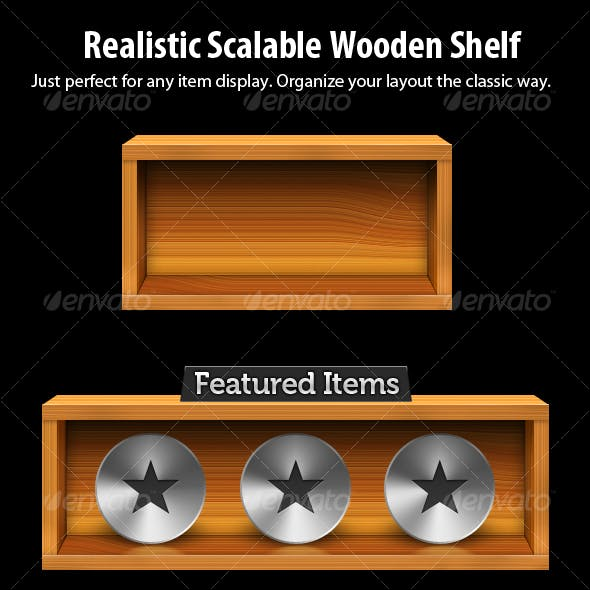Realistic Wooden Shelf