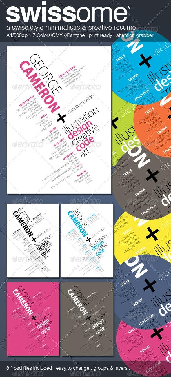 Swiss Style Minimalistic & Creative Resume  - Resumes Stationery