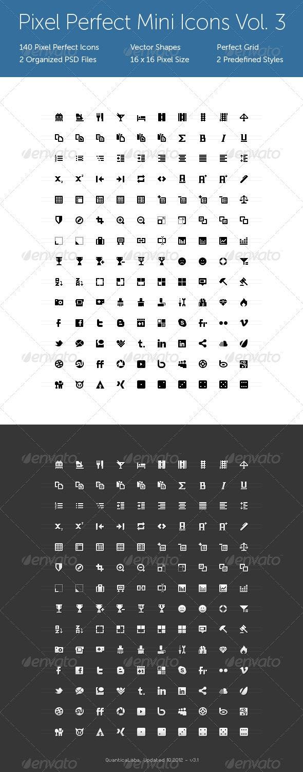 Pixel Perfect Mini Icons Vol. 3 - Web Icons