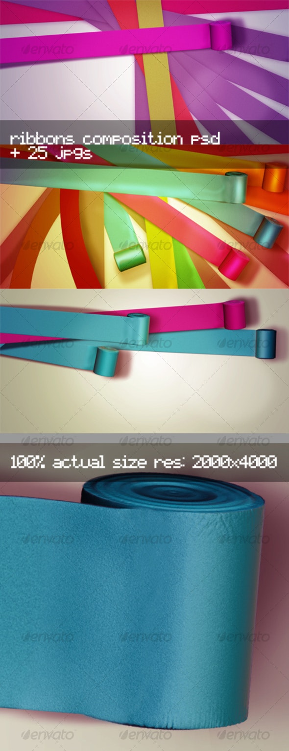 Stylish Ribbons Editable Composition - Backgrounds Graphics