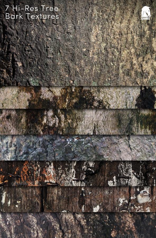7 Hi-Res Tree Bark Backgrounds - Wood Textures
