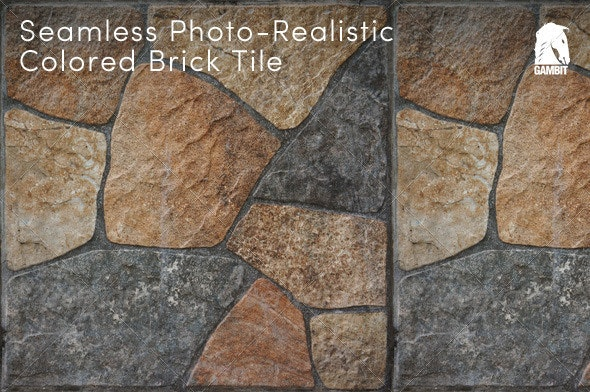 Hi-Res Seamless Colored Brick Tile - Stone Textures