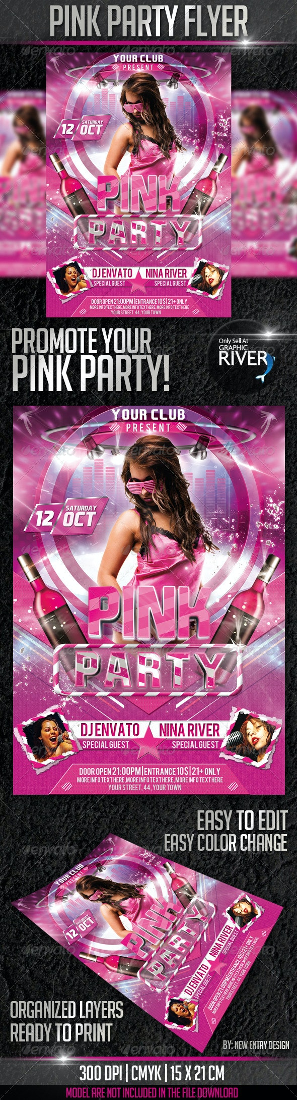 Pink Party Flyer Template - Events Flyers