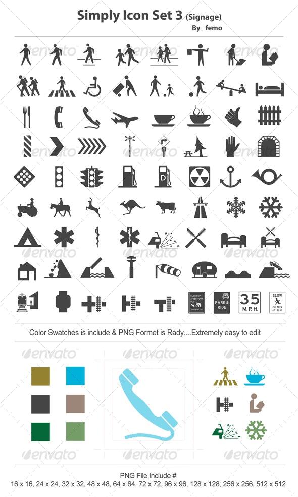 Simply Icon Set 3 (Signage) - Web Icons