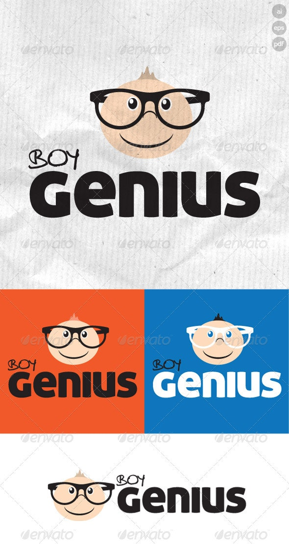 Boy Genius Geek Logo - Humans Logo Templates
