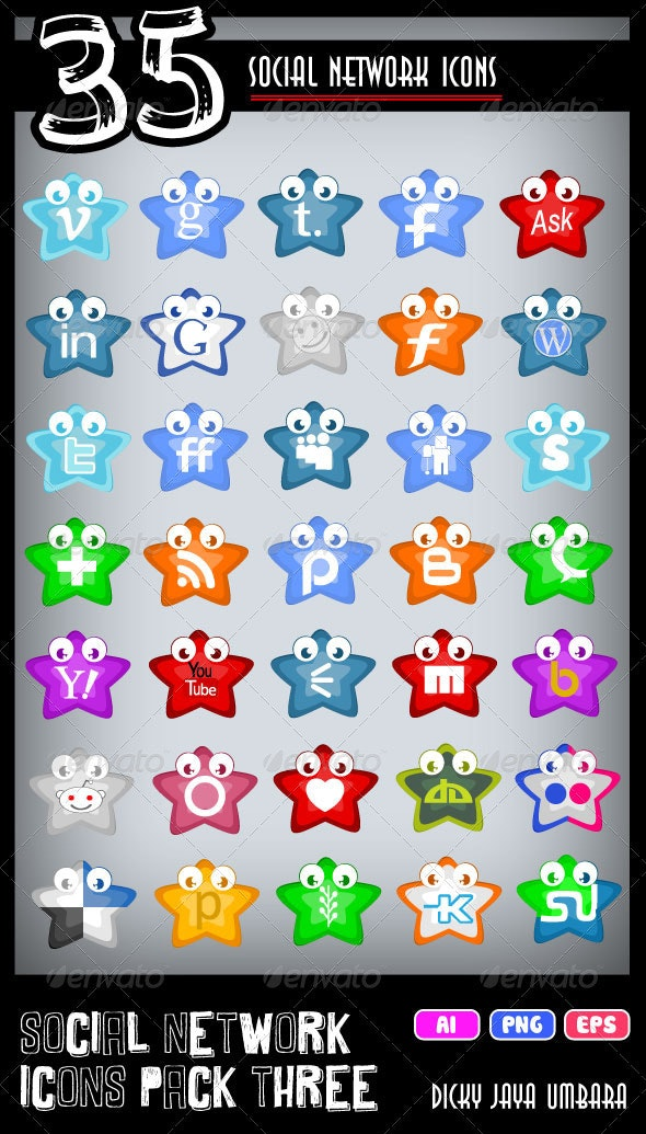 Social Network Icons Pack Three - Characters Vectors
