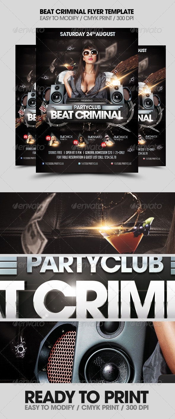 Beat Criminal Music Flyer - Flyers Print Templates