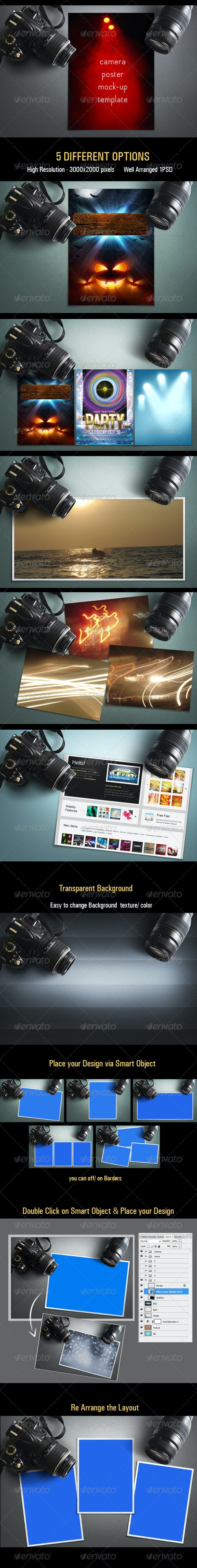 Camera Poster Mock-up Template - Posters Print
