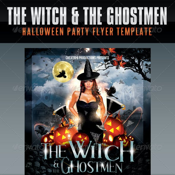 Witch and Ghostmen Halloween Flyer Template