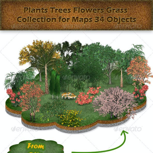 Plants Trees Flowers Grass Collection for Maps
